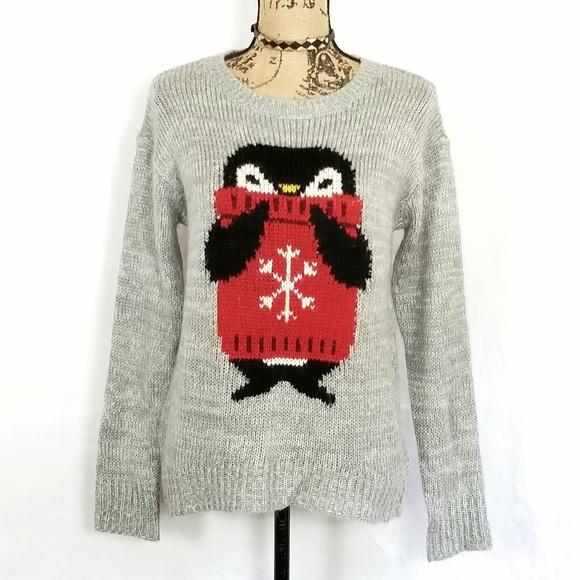 Rewind Sweaters - Rewind Owl Knit Long Sleeve Grey Sweater